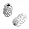 Metal Bead Pleated Tube 10x6mm Silver 50pc